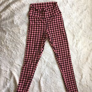 High waisted coral and black checkered pants